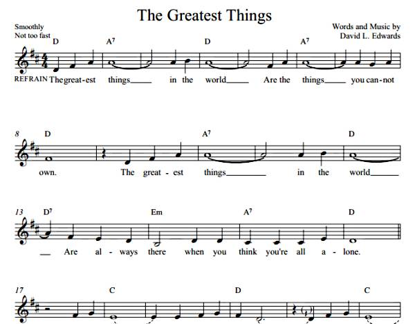 The Greatest Things  (Sheet Music)